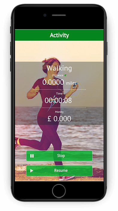 Fit4change App Activity Screen - Walking